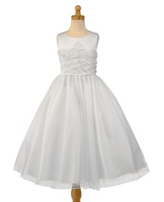 Christie Helene First Holy Communion Dress - Angel Collection - UF1197 - Sparkly White Satin Organza Crystal Ballerina Length