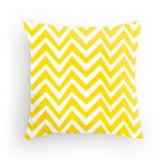 Yellow Crazy Chevron pillow available at redbubble