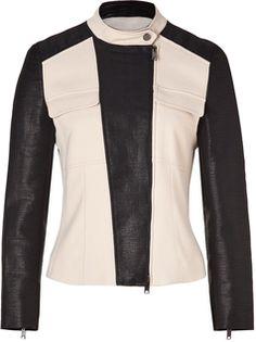 DKNY Black/Cream Colorblocked Stretch Canvas Jacket - on #sale 50% off @ #STYLEBOP.com  #Dkny