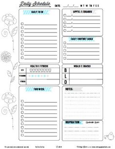 Free doodled floral daily to-do list for your daily tasks and other types of planner use. Free for personal non-commercial use only. Blog Planner, Planner Diario, To Do Planner, Planner Pages, Life Planner, Planner Ideas, Weekly Planner, To Do Lists Printable, Daily Planner Printable