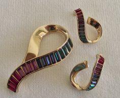 Swarovski Designer Gold Tone Multi Rhinestone Crystal Costume Jewelry Pin Brooch Pierced Earrings Gift by OnItsWay on Etsy