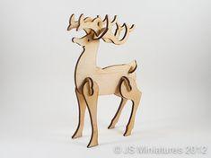 Laser Cut Wooden Reindeer Rudolph Model 3D by JSMiniatures on Etsy, £5.99