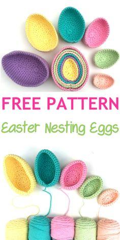 Free Crochet pattern Easter Nesting Eggs – Atty*s. Free Crochet pattern Easter Nesting Eggs – Atty*s. Crochet Home, Free Crochet, Knit Crochet, Crochet Bags, Crochet Dolls, Half Double Crochet, Single Crochet, Crochet Projects, Crochet Ideas
