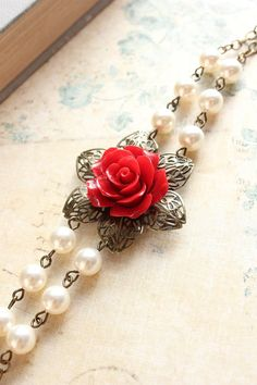 This gorgeous rose and pearl bracelet would really spice up any casual outfit, as well as a formal outfit. Pair with jeans and a white blouse for a casual look, or pearls and a gown for a fancier, more formal event. Overall, I love it!