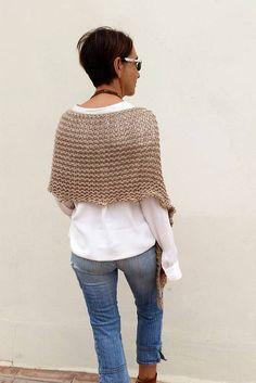Knit wool poncho women poncholoose knit poncho poncho by EstherTg