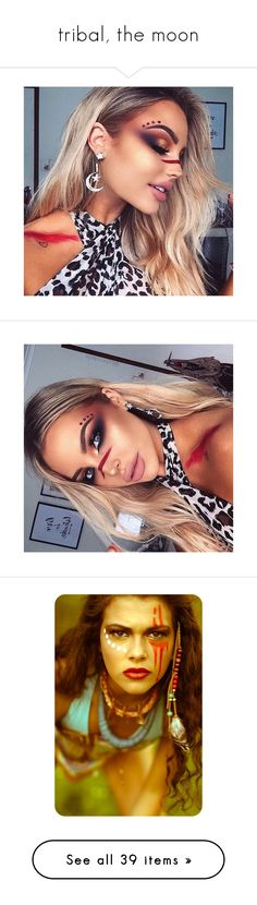"""""""tribal, the moon"""" by frostedrose ❤ liked on Polyvore featuring people, fotos, women, makeup, jewelry, rings, wide rings, enhancer ring, thick rings and 18 karat gold ring"""