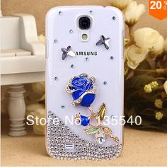 For Samsung galaxy s4 2014 new handmade rose flower diamond hardcell phone case free shippingFor Samsung galaxy s4 2014 new handmade rose flower diamond hardcell phone case free shipping #blue rose #flower diamond #for Samsung S4 case #free shipping