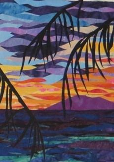 Sunset Beach pattern version 2 by Melinda Bula Sunset Art, Sunset Beach, Quilting Projects, Quilting Designs, Living Room Quilts, Beach Quilt, Hawaiian Sunset, Landscape Art Quilts, Hawaiian Quilts