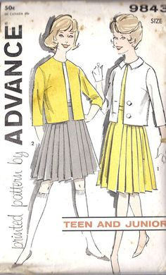 1960s Junior Separates Vintage Sewing Pattern. Mom sewed most of my clothes & I learned to sew too....home economics! OMG.