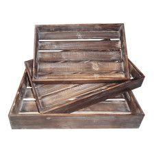 3 Piece Wood Slatted Tray Set