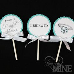 Deluxe Double Sided Cupcake Toppers  Tiffany & Co by LovinglyMine, $12.99