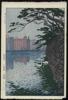 1956 - Kasamatsu, Shiro - Spring Rain on the Moat