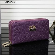 e7558d0de0 Coach Logo Charm LZ1908 Double-Zip Wallet In Purple Cheap Coach