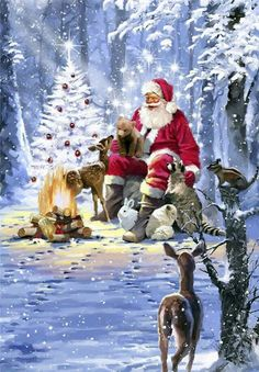 12 Santa Claus pictures with animals- 12 Santa Claus pictures with animals Father Christmas, Christmas Art, Christmas Decorations, Winter Christmas Scenes, Christmas Quotes, Primitive Christmas, Retro Christmas, Country Christmas, Illustration Noel
