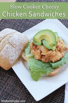 Slow Cooker Cheesy Chicken Sandwiches | 5DollarDinners.com