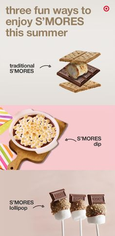 Do you love S'mores? We do too! Here are some fun ways to serve your favorite campfire treat. Roast a marshmallow & place it on a layer of chocolate. Sandwich them between 2 pieces of graham cracker & serve. If you love food on sticks, you should definitely try S'mores lollipop made with just 5 ingredients. You can also turn S'mores into a delicious dip and serve with crackers.