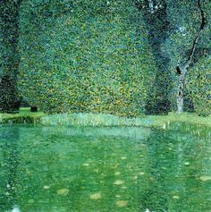 Gustav Klimt (Austrian; Art Nouveau, Symbolism, 1862-1918): Pond at Schloss Kammer on the Attersee, 1909. Oil on canvas