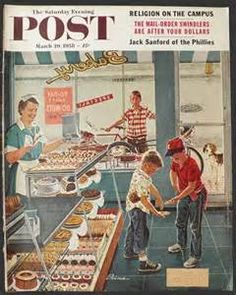 1958 Saturday Evening Post Cover ~ Boys Want Donuts