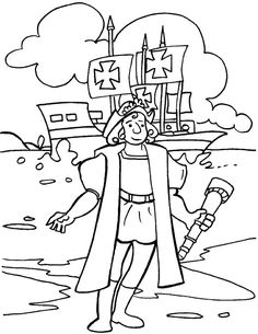 End of Medieval; Beginning of Renaissance - Christopher Columbus coloring page