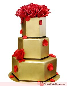 #Gold #cake with #red #roses