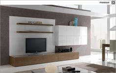 contemporary lacquered TV wall unit CLEVER TWO 59 muebles MESEGUE