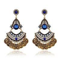 Fashion Ethnic Bohemian Gypsy Gold Big Crystal Drop Earrings,Vintage Long Coin Channel Earrings