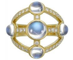 18K Lhasa Ring with royal blue moonstone and diamond - Temple St. Clair