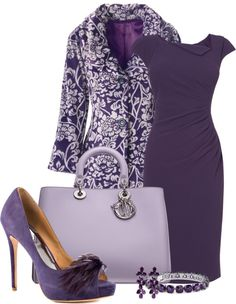 Purple outfit option 60. #purple #outfits #purpleoutfits #handbags #accessories #shoes #clothes #jewelry #earrings #dresses #purpledress