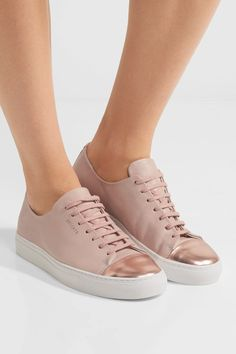 Axel Arigato - Metallic-trimmed Leather Sneakers in Blush Pink