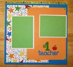 Teacher Scrapbook Page - Teacher Scrapbook Layout - 12 x 12 Scrapbook - Favorite Teacher - Teacher's Aide - Favorite Class - Student Teacher AngelBDesigns4You