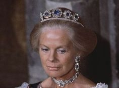 The Duchess of Kent wearing the Cambridge Sapphire Tiara (new form), United Kingdom (sapphires, diamonds).: