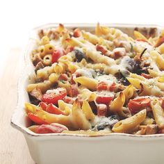 Chicken and Vegetables Pasta Bake Recipe   Diethood. Switch in coconut milk and coconut mozzarella, and the recipe should be safe.