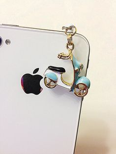 Phone dust plug jack blue scooter charm by donutsandcoffee on Etsy, $6.00