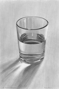 Drawing Techniques Glass of Water - Graphite Drawing by PauloPPereira - Shading Drawing, Water Drawing, Basic Drawing, Painting & Drawing, Drawing Ideas, Water Sketch, Graphite Drawings, Pencil Art Drawings, Realistic Drawings