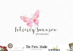 Watercolor Butterfly Logo Design - Photography Logo Branding