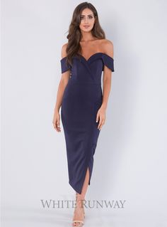 Connelly Midi. A gorgeous midi length dress by Tinaholy. An off shoulder style featuring a crossover hemline with short split.
