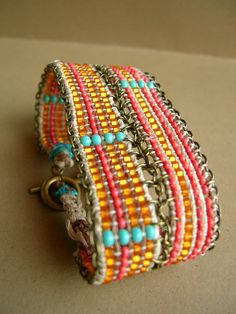 Hemp loom bracelet.  This is inspiring me to get out my bead loom.