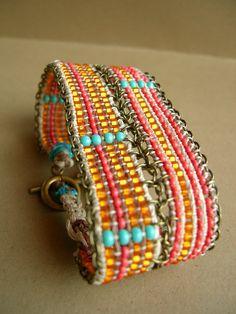 Hemp loom bracelet.  This is inspiring me to get out my bead loom.