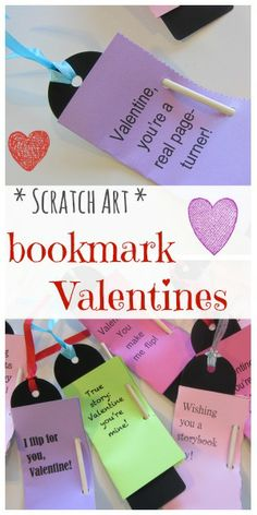 homemade scratch art bookmark valentines: easy, cool, kid-happy |