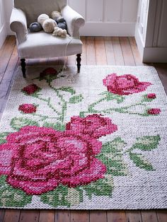 floral cross stitch rug
