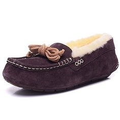 Womens Leather Fleece Scuffs Slippers Shoes Brown38 >>> Be sure to check out this awesome product. (This is an affiliate link)