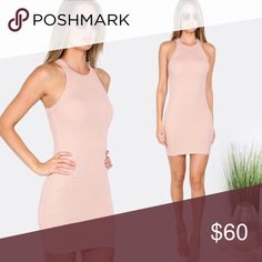 Ribbed Dress Round neck ribbed dress. Color is sand (appears light pink / tan). Unlined.  -- no trades -- -- firm price -- Lilacs & Lace Dresses