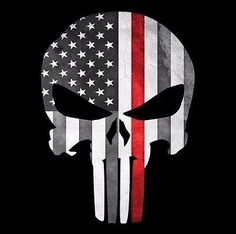 Punisher Skull American Flag Firefighter Red Line Decal Sticker Graphic- 3 Sizes