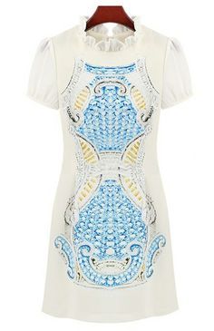 Blue Short Sleeve Ruffle Totem Pattern Print Dress zł102.92