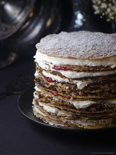 Raspberry Whip Crepe Cake: A gluten-free vegan crepe cake, filled with delicious layers of coconut whip and raspberry jam.