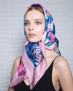 Head Scarf Tying, Head Wrap Scarf, Ways To Wear A Scarf, How To Wear Scarves, Turban, Classy And Fab, Silk Neck Scarf, Scarf Knots, Batik