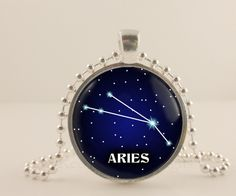 Aries birth sign, Zodiac, Astrology glass and metal Pendant necklace Jewelry.
