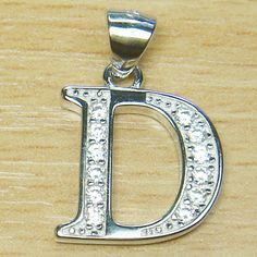 Micro Setting Brilliant Cut White Sterling Silver Initial Letter D Pendant Letter D, Initial Letters, Initial Pendant, Initials, Poems, Sterling Silver, Poetry, Verses