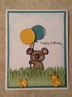 Stampin up Kind Koala, balloon - owl punch, words - And Many More