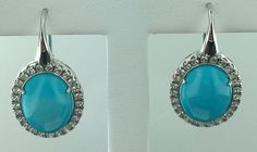 Lady's 18k white gold oval shaped Persian Turquoise leverback earrings, Italy in Jewelry & Watches, Fine Jewelry, Fine Earrings | eBay